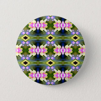 Pretty Spring Pink Green Pattern Button