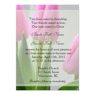 Pretty spring pink tulip flowers Christian wedding Card