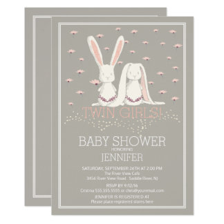 Attractive Pretty Spring Pink TWIN Girls Bunny Baby Shower Card