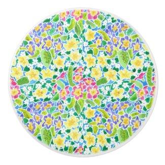 Pretty Spring Primroses Ceramic Knob