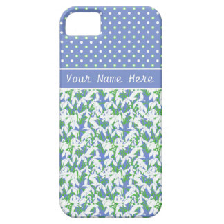 Pretty Spring Snowdrops with Polka Dots on Blue iPhone SE/5/5s Case