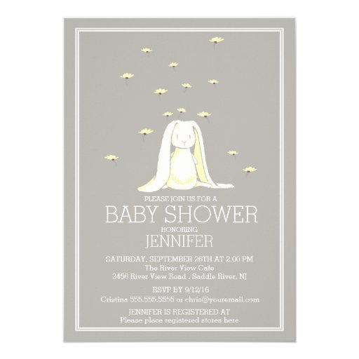 Pretty Spring Yellow Neutral Bunny Baby Shower Card