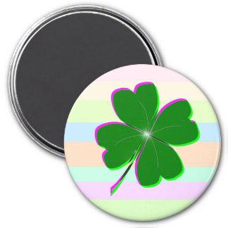 Pretty St. Patricks Day 4-Leaf Clover Design Refrigerator Magnets