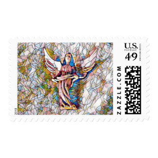 Pretty Stained Glass Angel Photomanipulation Postage Stamp