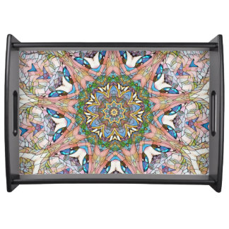 Pretty Stained Glass Circular Mandala Serving Tray