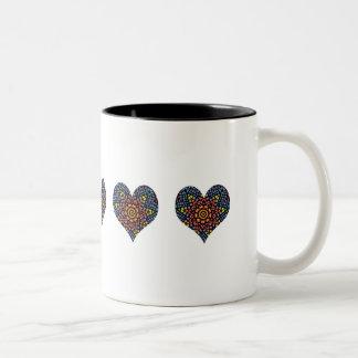 Pretty stained glass hearts kaleidoscope design Two-Tone coffee mug
