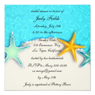 pretty starfish summer beach bridal shower invite