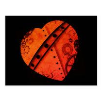 Pretty steampunk heart in vibrant Autumn colors Postcard