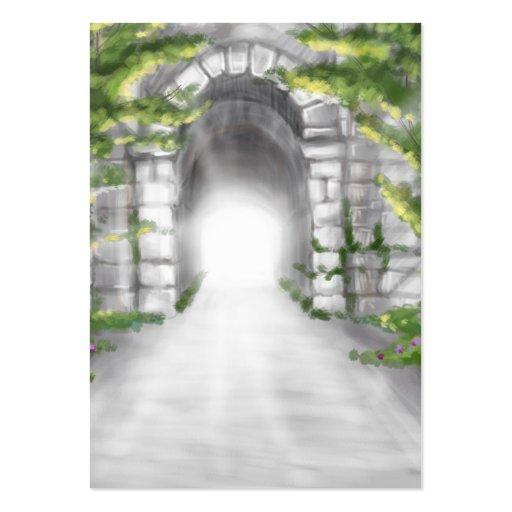 pretty stone tunnel trellis design business card templates