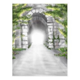 pretty stone tunnel trellis design postcard