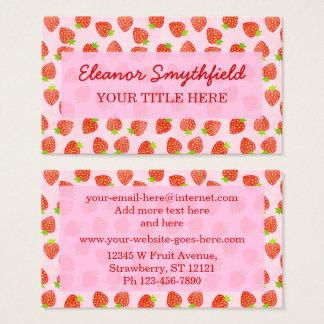 Pretty Strawberry Cream Pattern Personalized Business Card