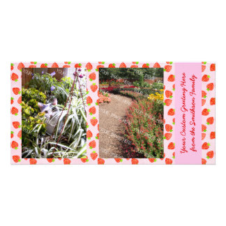 Pretty Strawberry Cream Pattern Personalized Photo Greeting Card