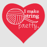 Pretty String/Yarn Custom Color Dark Heart Sticker