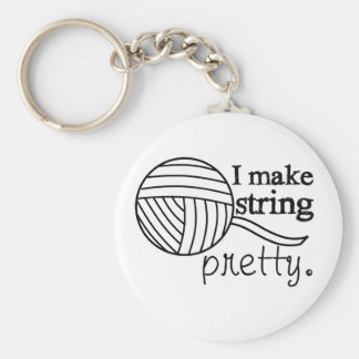 Pretty String/Yarn Custom Color Light Basic Round Button Keychain