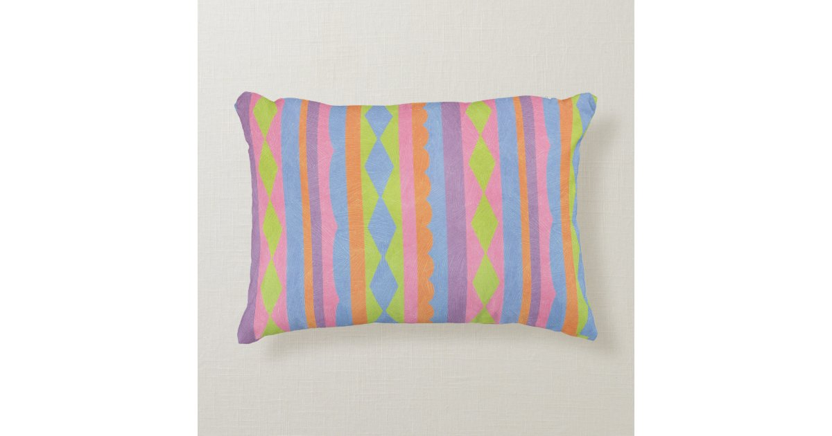 Pretty striped blue pink yellow green and purple decorative pillow Zazzle