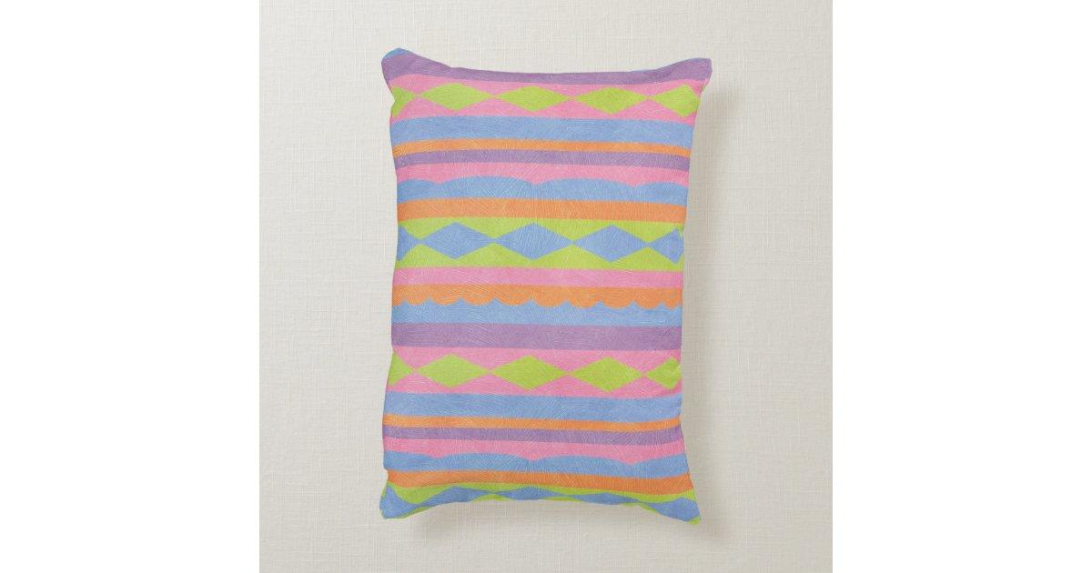 Pretty striped blue pink yellow green and purple decorative pillow Zazzle