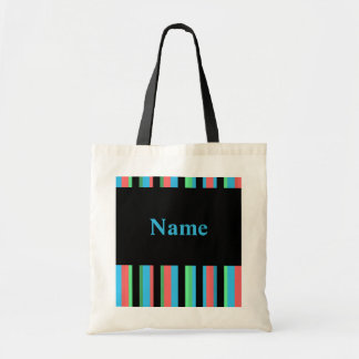 Pretty Striped Budget Tote Bag Template - Blue