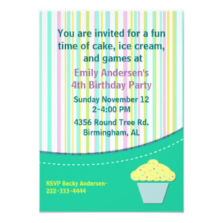 Pretty Stripes and Cupcake Birthday Invitation
