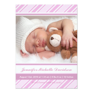 Pretty Stripes Baby Girl Birth Announcements
