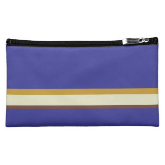 Pretty stripes in natural colors on cobalt blue cosmetic bag