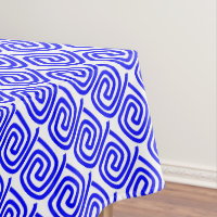 Pretty Stylish Blue And White Repeat Patterned Tablecloth