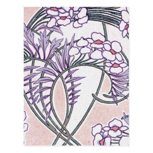 pretty summer floral art nouveau design post cards