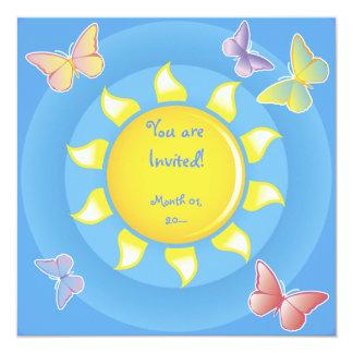 Pretty Sun and Butterflies Invitations