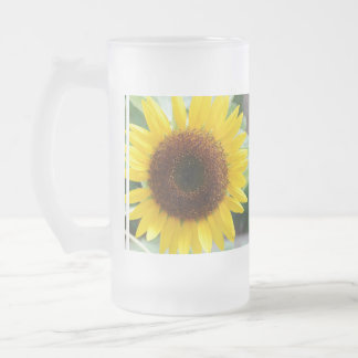 Pretty Sunflower 16 Oz Frosted Glass Beer Mug