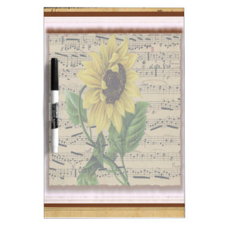 Pretty Sunflower On  Music Dry Erase Board