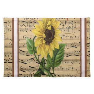 Pretty Sunflower On  Music Placemat