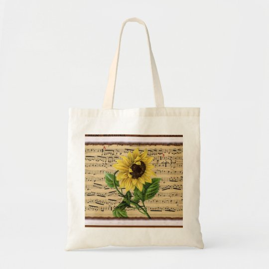 Pretty Sunflower On  Music Tote Bag
