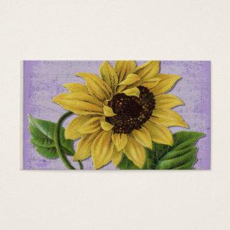 Pretty Sunflower On Sheet Music Business Card