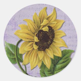 Pretty Sunflower On Sheet Music Classic Round Sticker