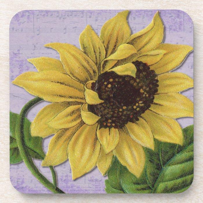 Pretty Sunflower On Sheet Music Coaster
