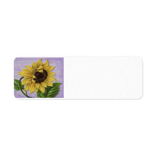 Pretty Sunflower On Sheet Music Custom Return Address Labels