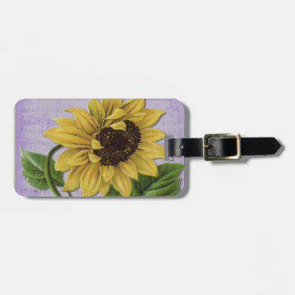 Pretty Sunflower On Sheet Music Luggage Tag