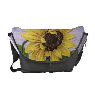 Pretty Sunflower On Sheet Music Messenger Bag