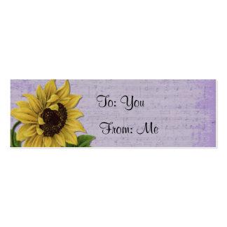 Pretty Sunflower On Sheet Music Mini Business Card