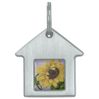 Pretty Sunflower On Sheet Music Pet Name Tags
