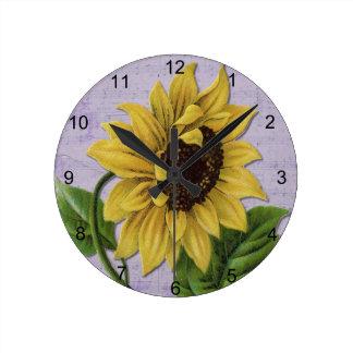 Pretty Sunflower On Sheet Music Round Clock