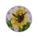 Pretty Sunflower On Sheet Music Round Wall Clock
