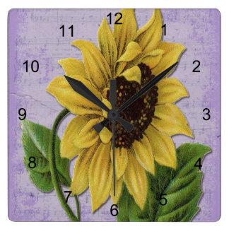 Pretty Sunflower On Sheet Music Square Wall Clock