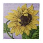 Pretty Sunflower On Sheet Music Tile