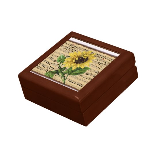 Pretty Sunflower On Vintage Sheet Music Keepsake Box