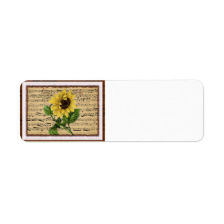 Pretty Sunflower On Vintage Sheet Music Label