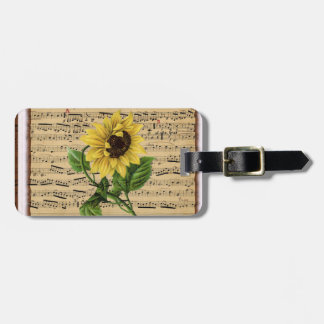 Pretty Sunflower On Vintage Sheet Music Tags For Bags