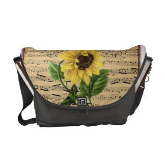 Pretty Sunflower On Vintage Sheet Music Messenger Bag