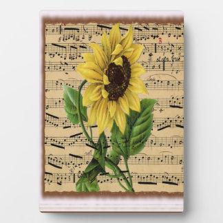Pretty Sunflower On Vintage Sheet Music Display Plaque