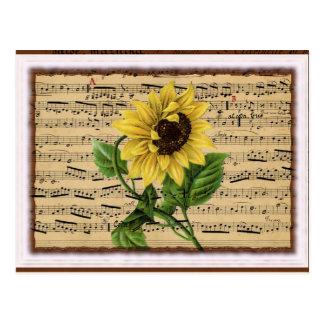 Pretty Sunflower On Vintage Sheet Music Postcard