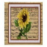 Pretty Sunflower On Vintage Sheet Music Poster